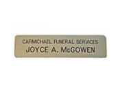 Custom engraved name badges from Indiana Stamp give you a