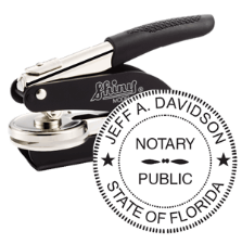 Professional Notary Seal is personalized with your name and state. Easy order!