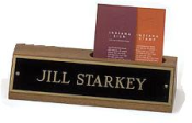 Engraved Wood Desk Plate with Business Card Holders say your name with elegance.