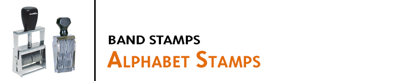 Alphabet Band Stamps are especially useful for changing info like lot and date codes and personalized prints. Customized configurations are available.