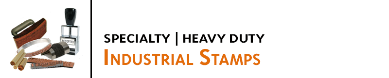 Specialized stamps and marking products for industrial and heavy duty applications. Solutions for large or tiny stamps, marking on metal, wood, plastic, pallets and more.
