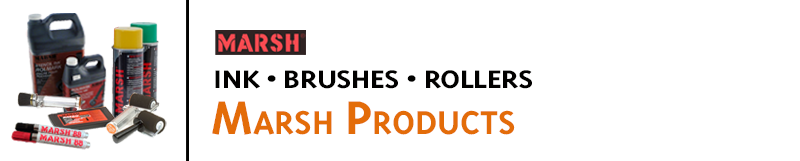 We supply Marsh Products for industrial marking and stenciling, including Rolmark ink, pads, and rollers; Spray Ink; Markers; K Stencil Ink, roll printers and more. Buy online!