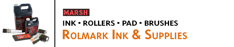 Marsh Rolmark Ink & stencil system is fast, easy-to-use, and makes permanent, weatherproof prints. Buy Rolmark Ink, Rollers, Fountain Brushes, Pads, and supplies online.