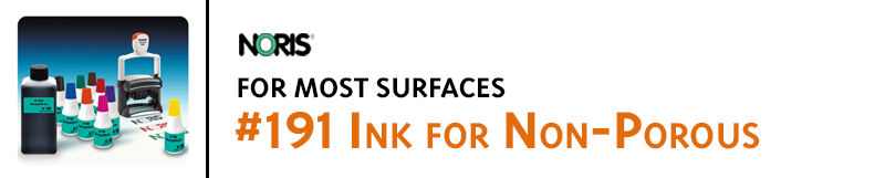 #191 ink is excellent for stamping on nearly all porous and non-porous surfaces. Is suitable for self-inking stamps.