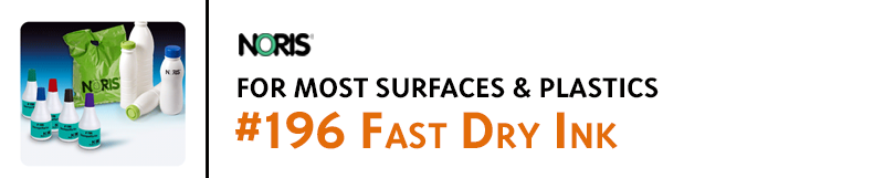 #196 Noris ink is very fast drying and excellent for stamping on nearly all non-porous surfaces including plastics, film, bags, metal, and more.