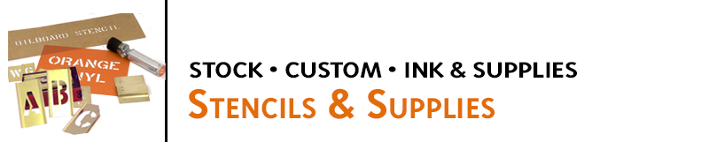 Stencils & Supplies for industrial, office, and home use. Custom stencils made to your specs. Order stock sets, ink, and applicators online for fast shipping.