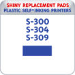 Indiana Stamp sells the complete line of Shiny brand stamping products, including replacement pads for Shiny S-300,S-303,S-304,S-309 plastic self-inking stamps.