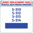 Indiana Stamp sells the complete line of Shiny brand stamping products, including replacement pads for Shiny S-310,S-312, S-313,S-314 plastic self-inking stamps.