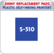 Indiana Stamp sells the complete line of Shiny brand stamping products, including replacement pads for Shiny S-510 plastic self-inking stamps.