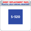 Indiana Stamp sells the complete line of Shiny brand stamping products, including replacement pads for Shiny S-520 plastic self-inking stamps.