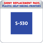 Indiana Stamp sells the complete line of Shiny brand stamping products, including replacement pads for Shiny S-542 & S-542D plastic self-inking stamps.