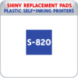 Indiana Stamp sells the complete line of Shiny brand stamping products, including replacement pads for Shiny S-820 plastic self-inking stamps.