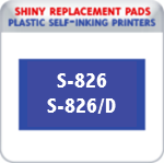 Indiana Stamp sells the complete line of Shiny brand stamping products, including replacement pads for Shiny S-826 & S-826D plastic self-inking stamps.