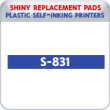 Indiana Stamp sells the complete line of Shiny brand stamping products, including replacement pads for Shiny S-831 plastic self-inking stamps.