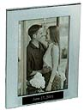 silver picture frame, polished silver aluminum frame, tropar, airflyte, engravable black aluminum plate, personalized gifts, 5 x 7 photo, fr82