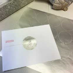 Sheet of silver foil labels for use with seal embossers. Great for official documents, stationary, and certificates!
