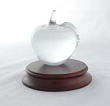 48185 CRYSTAL APPLE PAPERWEIGHT - 48185 Crystal Apple Paperweight on Walnut Base