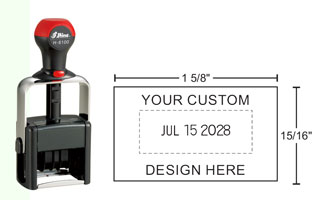 HM-6100 Shiny Heavy Metal Self-inkking Date Stamps can be customized with text above or below the date and will stand up to industrial and heavy office use.