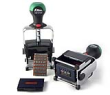 Indiana Stamp sells Shiny Heavy Metal Self-Inking Date Stamp with Message, as well as replacement pads and ink.