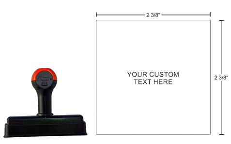 """Shiny Duo Hand Stamps are easy to use and have a snap-on cover to keep your stamps — and your desk — neat and clean. HS26 offers a print area of 2-3/8"""" x 2-3/8""""."""