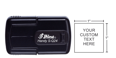 Shiny Q-24 Handy Stamps are designed to be portable and convenient. Only 1/4 the size of a typical stamp, that easily fits into a pocket, purse, or briefcase.