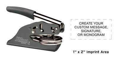 """High quality Shiny Deluxe Pocket Embosser without the high price. Emboss your custom business or personal 1"""" x 2"""" seal on documents and stationary."""