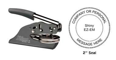 """High quality Shiny Deluxe Pocket Embosser without the high price. Emboss your custom business or personal 2"""" seal on documents and stationary."""