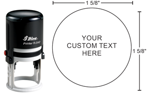 """Indiana Stamp sells Shiny R-542 self-inking rubber stamp at competitive prices. 1-5/8"""" diameter with round copy."""