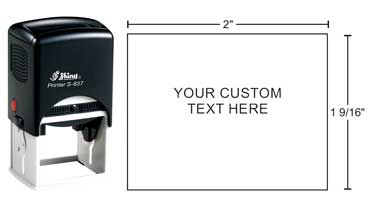 Shiny S-837 self-inking stamp from Indiana Stamp. Personalize with your art or up to 9 lines of text.