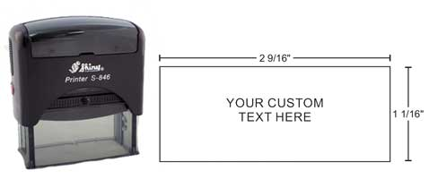 Shiny S-846 self-inking printer stamps are perfect for many uses, providing thousands of high quality impressions without re-inking.