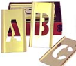 "Brass Stencil Alphabet Sets with 1-1/2"" Letters are durable, reusable, inter-locking, and perfect for industrial, office, and home applications and projects."