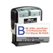 Shiny Self-inking stamp with Left/Right 2-color Ink Pad for colorful imprints.